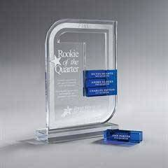 Clear Lucite Perpetual Award, Small(Glass Bars Sold Separately)