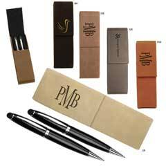 Leatherette Pen Case With 2 Blank Pens With Stylus