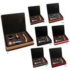 Leatherette 4-Piece Wine Tool Set