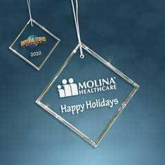 Clear Glass Beveled Square Ornament