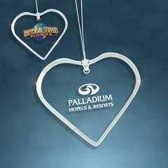 Jade Glass Beveled Heart Ornament