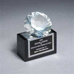 Full-Cut Glass Gemstone on Black Glass Base with Wrapped Texture Plate