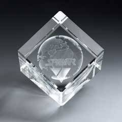 3D Etched Crystal Diamond Cube (med)