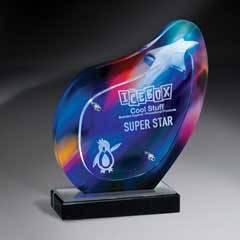 Aurora Borealis Lucite Award on Base