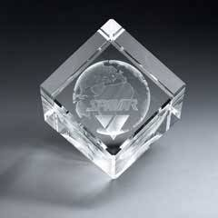 3D Etched Crystal Diamond Cube (sml)