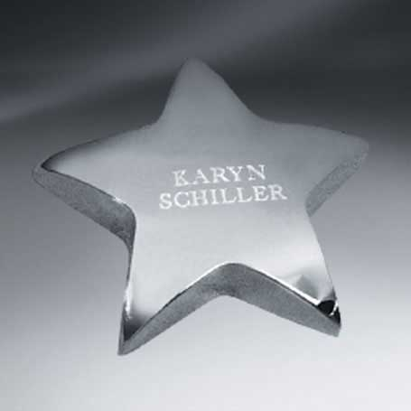 C0556 - Silver Tone Star Paperweight (FREE Setup - Text only)