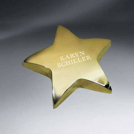 C0557 - Gold Tone Star Paperweight (FREE Setup - Text only)