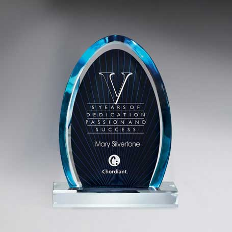 C0614 - Large Blue Dynasty Award with Clear Lucite Base