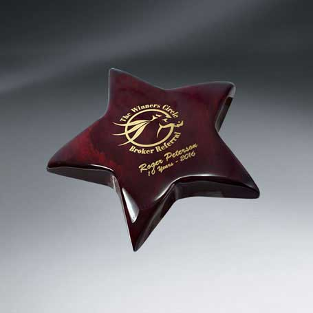 C0627 - Rosewood Piano Finish Star Paperweight (Includes Gold Color-Fill)