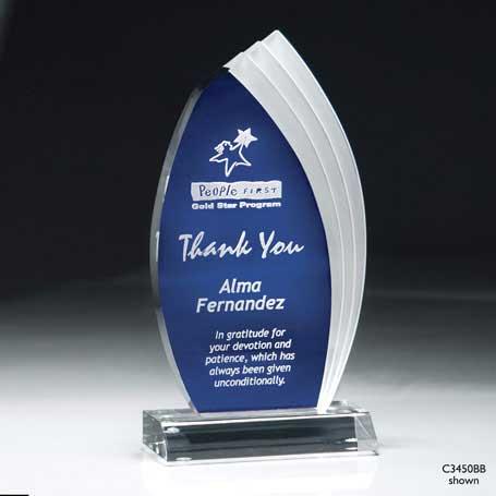 C3450AB - Blue Cascade Lucite Award - Small