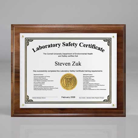 "C3501AW† - Genuine Walnut Certificate/Overlay Plaque for 7"" x 5"" Insert"