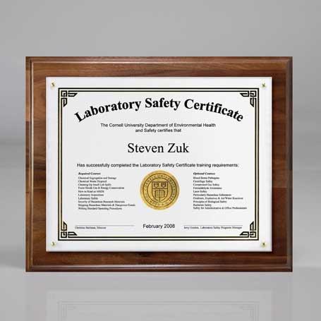 "C3501AW† - Genuine Walnut Certificate/Overlay Plaque for 7"" x 5"" Insert"