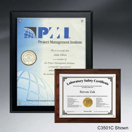 "C3501B*† - Certificate/Overlay Plaque for 8"" x 6"" Insert"
