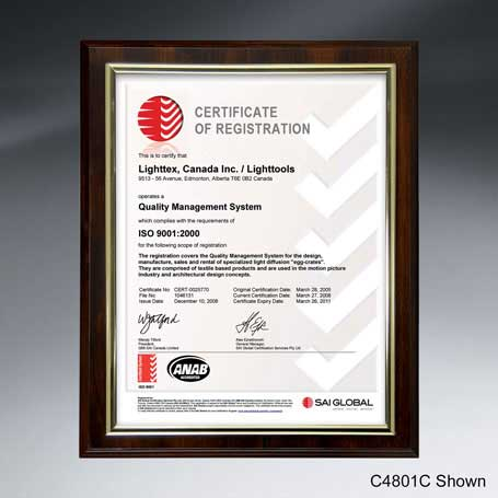 """C4801A* - Slide-in Certificate Plaque - Walnut Finish for 8"""" x 6"""" Insert"""