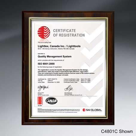 "C4801B* - Slide-in Certificate Plaque - Walnut Finish for 10"" x 8"" Insert"