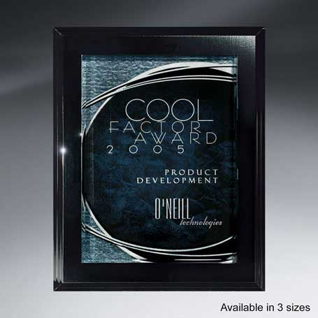 CB75A - Ebony Finish Plaque with Shimmering Silver Lunar Lucite