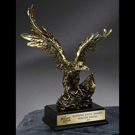 CBE109A - Gold Antique Finish Resin Cast Eagle - Small