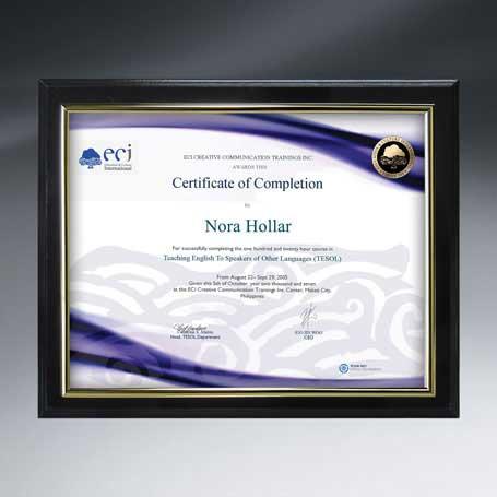 "CD120* - Slide-in Certificate Plaque - Ebony Finish for 11"" x 8½"" Insert"