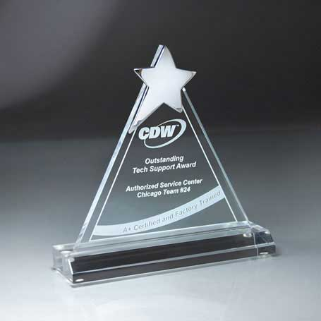 CD479 - Chrome Star on Triangle Lucite Award