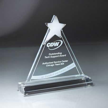 CD479 - Chrome Star on Triangle Lucite Award