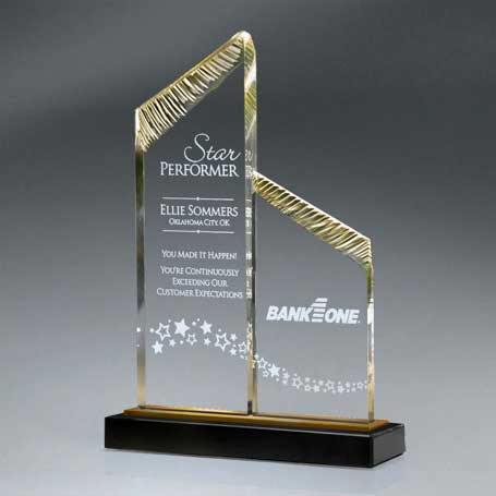 CD845* - Chisel Carved Lucite Tandem Towers with Mirror on Black Marble Base (Includes 2 Locations Lasered)