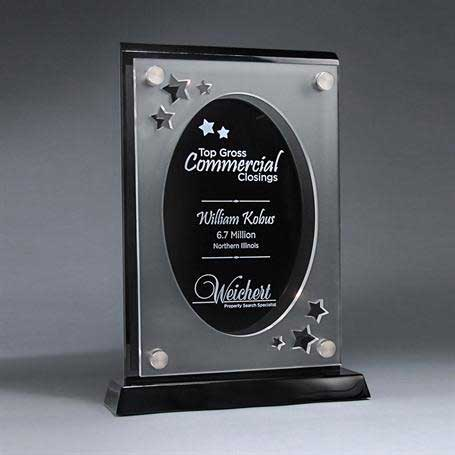 CD900OVAL - Frosted Lucite Cutout on Risers Award  with Choice of State or Special Stock Shape