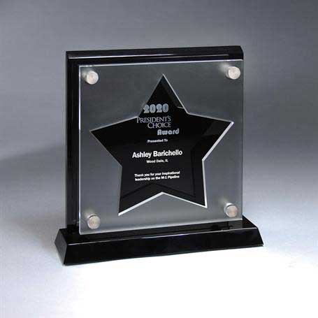 CD900STAR - Frosted Lucite Cutout on Risers Award  with Choice of State or Special Stock Shape