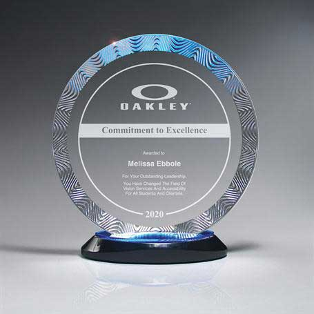 CD938A - Aqua Wave Circle Award on Ebony Lucite Oval Base