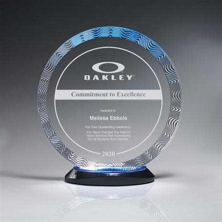 CD938B - Aqua Wave Circle Award on Ebony Lucite Oval Base