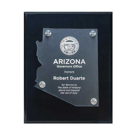 CD953* - Frosted Acrylic State Cutout on Black Plaque