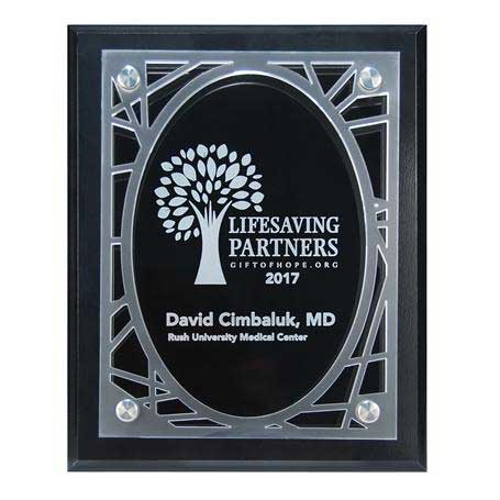 CD954 - Frosted Acrylic Decorative Edge Cutout on Black Plaque