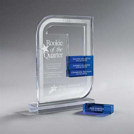 CD978A - Clear Lucite Perpetual Award - Small (Glass Bars Sold Separately)