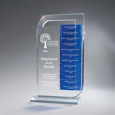 CD978B - Clear Lucite Perpetual Award - Large (Glass Bars Sold Separately)