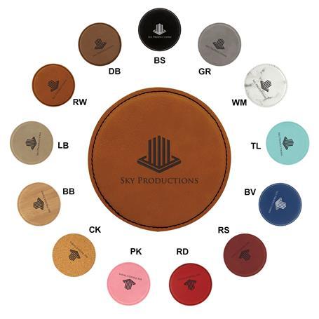 CM240* - Leatherette Round Coaster