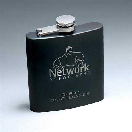 CM254BK - 6 oz. Matte Black Stainless Steel Lasered Flask
