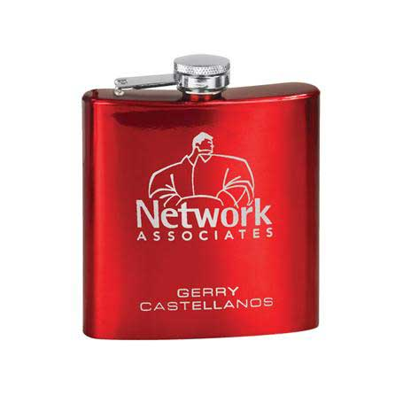 CM254RD - 6 oz. Stainless Steel Lasered Flask