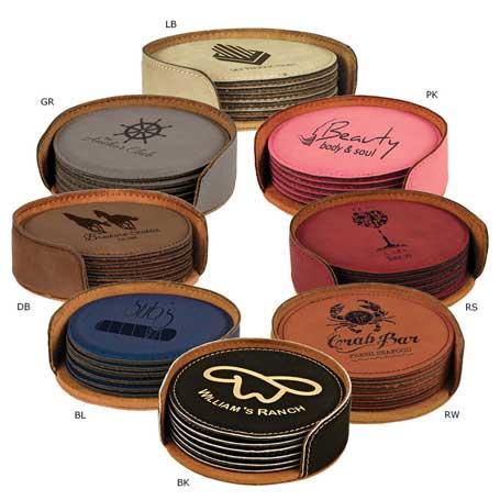 CM282* - Leatherette Round 6-Coaster Set