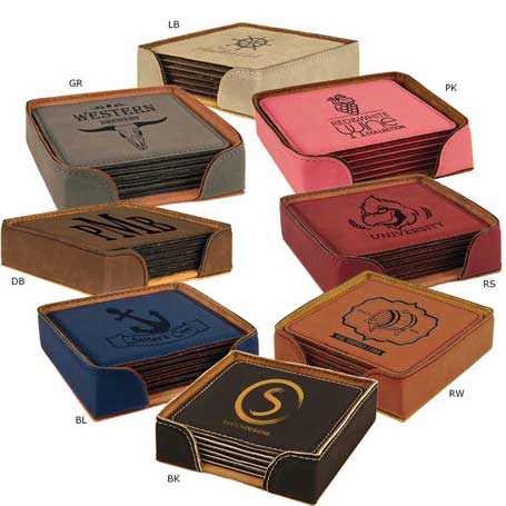 CM283* - Leatherette Square 6-Coaster Set