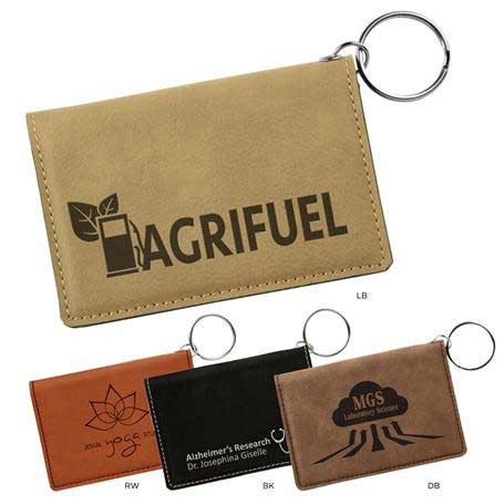 CM329* - Leatherette ID Holder with Key Ring