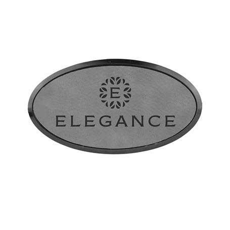 CM337GR - Leatherette Oval Name Badge With Holder & Magnet