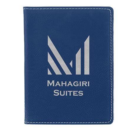 CM348BV - Leatherette Passport Holder , Blue/Silver
