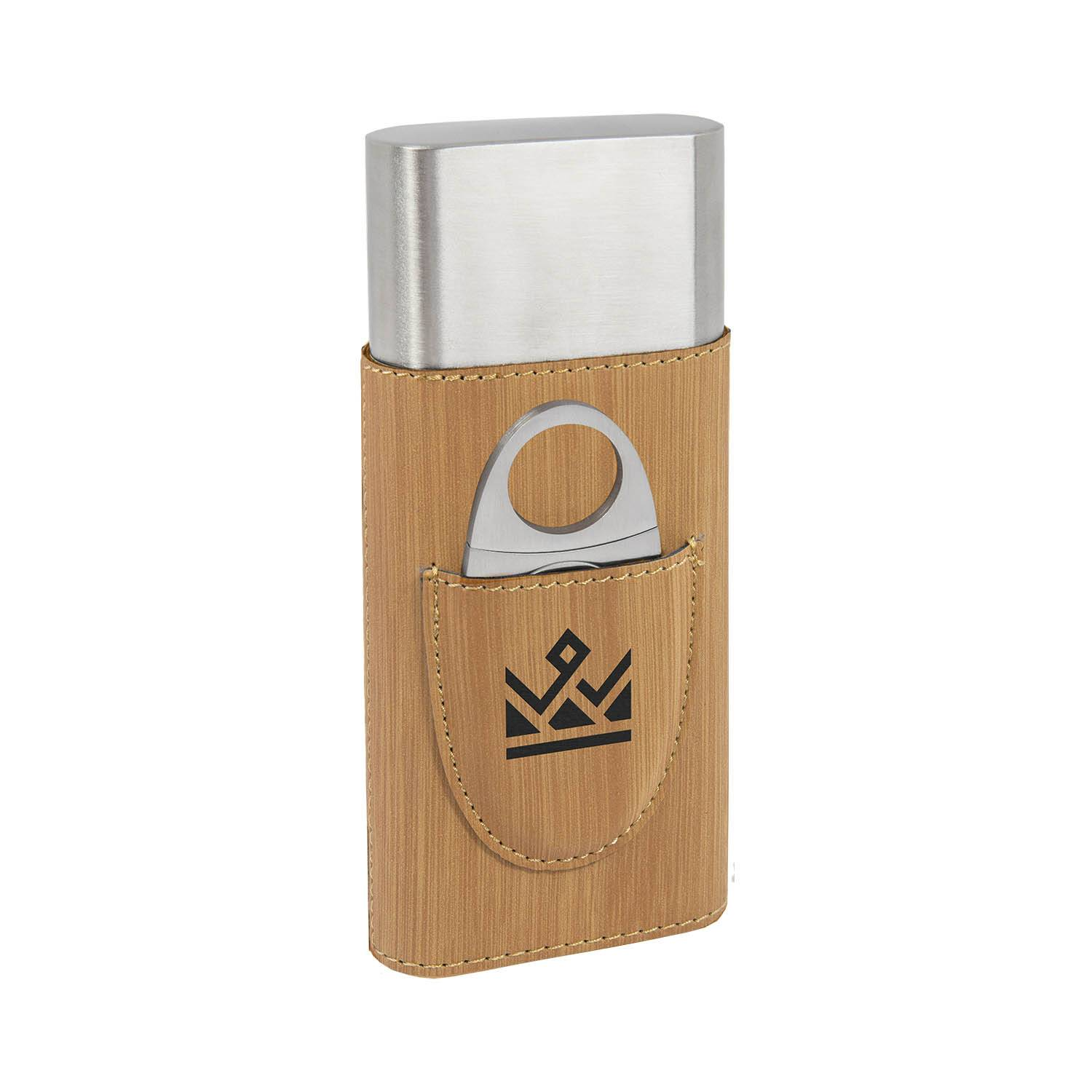 CM372BB - Leatherette Cigar Case with Cutter, Bamboo