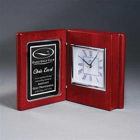CM412 - Rosewood Piano Book Clock