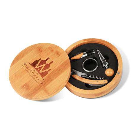 CM423 - Round Bamboo 4-Piece Wine Gift Set