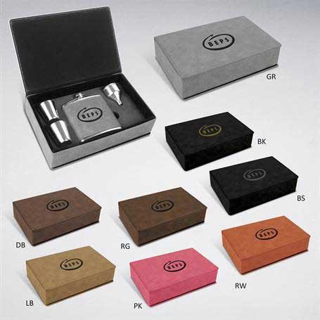 CM450* - Leatherette Flask Gift Set