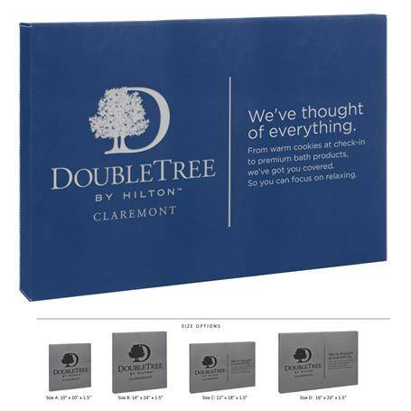 CM456BBV - Leatherette Wall Signage Blue and Silver