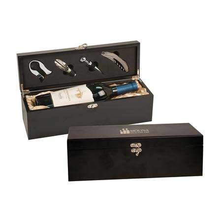 CM461 - Matte Black Wine Presentation Box with Tools