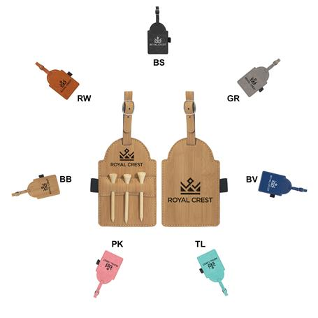 CM723* - Golf Leatherette Bag Tag with Tees