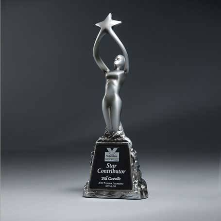 CS105 - Antique Pewter Finish Star Victory Figurine  with Black Lasered Plate
