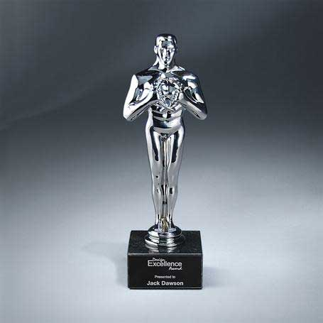 CS121 - Achievement Bright Silver   on Black Marble Base with Black Lasered Plate